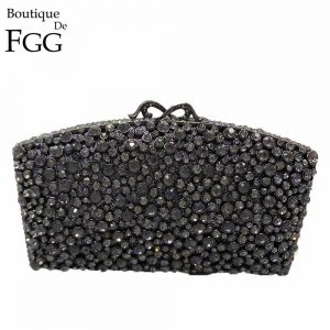 Boutique De FGG Black Jet Crystal Rhinestones Women Evening Purse Metal Minaudiere Handbag Wedding Clutch Bridal Party Hand Bag