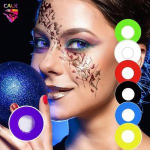 2pc Colored Contact Lenses Eye Color Cosmetic Lens Comfortable for Eyes Black Yellow Red White Circle Colorful Cosplay Halloween