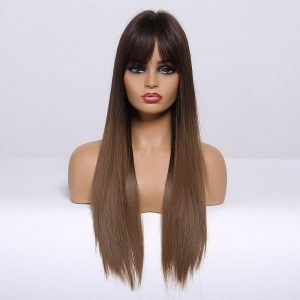EASIHAIR Women Long Straight Black to Brown Ombre Wigs with Bangs Synthetic Natural Hair Wigs Daily Cosplay Wigs Heat Resiatant