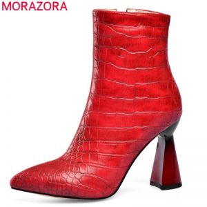 MORAZORA 2020 top quality women ankle boots pointed toe autumn winter chelsea short boots high heels party wedding shoes woman
