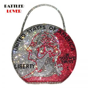 Available Women Luxury Shining Crystal Dime Coin Handbag and Purse for Female Classical Diamonds Money Shoulder Crossbody Bag