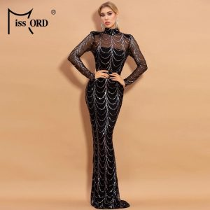 Missord 2021 Autumn Winter High Neck Wave Sequins See Though Women Maxi Dresses Elegant Long Sleeve Female Party Dresses M0032