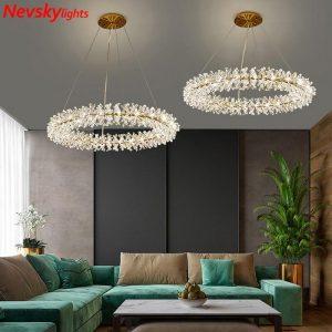 Crystal rings chandelier kitchen led chandelier lighting living room led luxury crystal lustre dining room pendant lamps bedroom