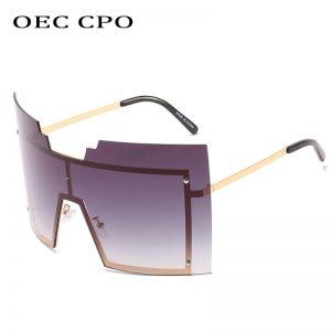 OEC CPO Steampunk Goggle Rimless Sunglasses Women Fashion Oversized Metal Frame Glasses Men Female Shades Retro Colors Oculos