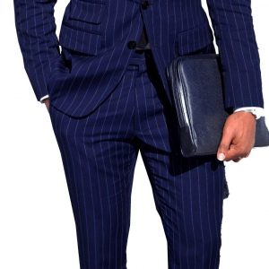 Mens Chalk Stripe Suit Custom Made Light Navy Blue Mens Striped Suit With Ticket Pocket
