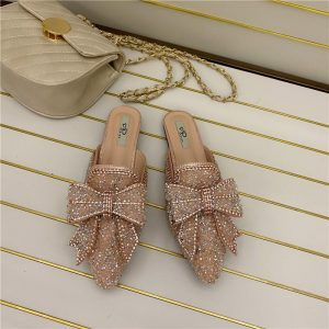2020 Spring Women New Slippers Flats Shoes Bow Design Fashion Slip On Mules Shoes Outdoor Casual Elegant Flats Lazy Ladies Slide