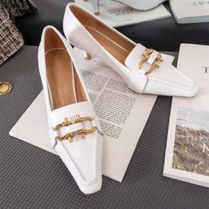 Autumn Women Heels Pumps luxury Brand Designer pumps Black white Ladies Genuine Leather  Retro metal decoration shoes Woman