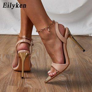 Eilyken 2021 Summer New Chain Ankle Strap Sandals Women Sexy Open Toe Thin High Heels Sandals Female Buckle Strap Wedding Shoes