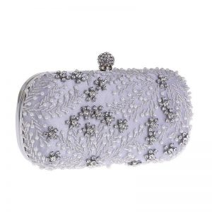 Exquisite Beaded White Clutch Black Ivory Beading Crystals High Quality Free Shipping Wedding Party Bags
