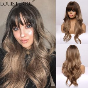 LOUIS FERRE Ombre Black Brown Synthetic Wigs with Bangs for Black Woman Long Natural Wave Cosplay Wigs Heat Resistant Fibre