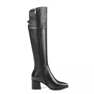 Phoentin genuine leather knee high boots women 2019 side zip female booties square heels Embossing high quality shoes FT812