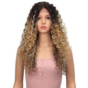 Bella Kinky Curly Wig Lace Front Wig Synthetic Curly Hair 26inch Mix Blonde Brown Omber Blue Black 3 Colors Wigs For Black Women