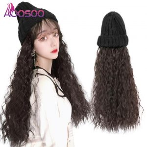 AOOSOO Long curly hair knitted hat synthetic fiber wig women's long hair hooded Wig Natural fluffy fashion net red trend