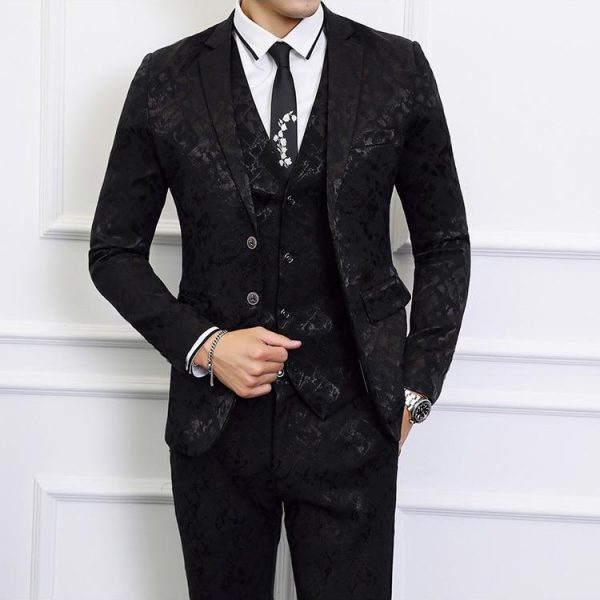 Gentleman Mas Suit Printing 2020 Full Dress Men Business Social Wedding Smoking Mariage Homme Stylish Prom Jackets Club