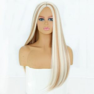 Long Blond Brown Gloden Honey Straight Wig with Highlights Cosplay Synthetic Wigs Women Heat Resistant Middle Part Wigs