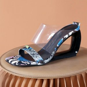 Animal Prints PVC&PU Leather Slippers Women Strange Style Summer Women Shoes Size 42 High Heels Outside Ladies Shoes Slides