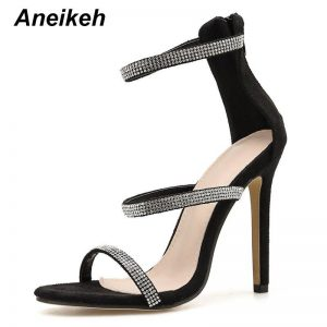 Aneikeh Newest Sexy Shoes Woman Gladiator Sandals CRYSTAL Thin Heels Open Toed High Heel Dress Cover Heel Pumps Shoes Size 35-42