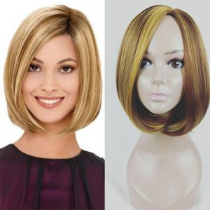CHARMING White Women Synthetic Full Wigs Short Straight Bob Hairstyle Blonde HighLights Hair Wig Heat Resistant Free Shipping