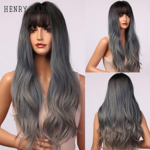 HENRY MARGU Long Ombre Black Blue Ash Wigs Heat Resistant Colored Wavy Synthetic Wigs for Women Daily/Cosplay Wigs with Bangs