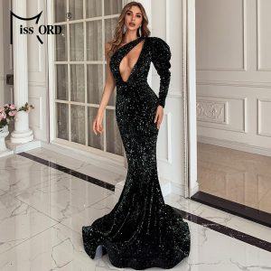 Missord Women Sexy One Shoulder  Puff Sleeve  Sequin Dress Hollow Out Female Floor Length Maxi Dress Evening Party Dress M0803