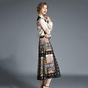 High Quality Runway Skirt Suits 2019 Summer Women Bow Collar Vintage Print Shirts and Pocket Mid Skirt Set Autumn 2 Pieces Sets