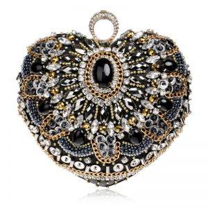 SEKUSA Hot Sale Small Beaded Clutch Purse Elegant Black Evening Bags Wedding Party Clutch Handbag Metal Chain Shoulder Bags