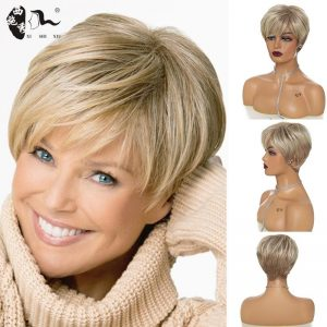 XISHIXIUHAIR Hair Women Synthetic Short Ombre Blonde Wigs Natural Hair Wigs Heat Resistant Hair Wig for White Women
