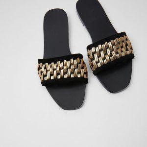 2020 Summer New Flat Slides Sandals Women Golden Knit Outside Flat Beach Slipper Fashion Women's Holiday Massage Slides Shoes 40