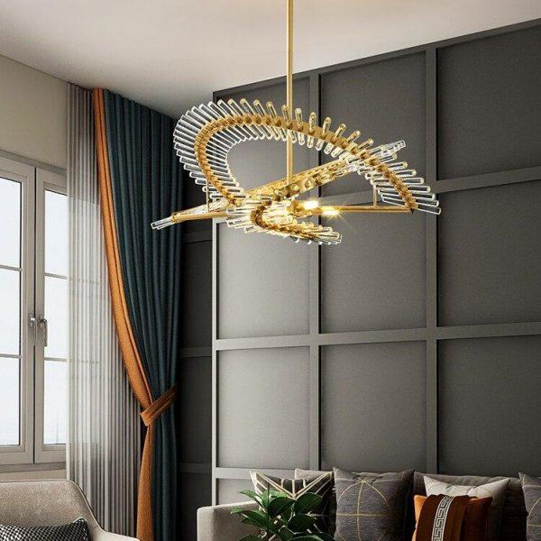Luxury Crystal Glass Chandelier Dining Living Room Postmodern LED Lighting Hanging Fixture Gold Bedroom Restaurant Designer Lamp