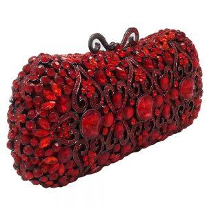 Boutique De FGG Red Ruby Crystal Diamond Women Metal Evening Clutches Bags Wedding Minaudiere Clutch Bridal Handbags Purses