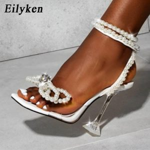 Eilyken New Women Sandals 2021 Summer Sexy Perspex Crystal High Heels Party Wedding Shoes Square Toe Pearls String Bowknot Pumps