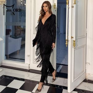 Missord Sexy Deep V Neck Long Sleeve Tassels Women Jumpsuit Solid Color Elegant Long Overalls Jumpsuit Casual Rompers FT20000