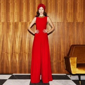 Rompers Runway Summer New Fashion Women'S Party Elegant Vintage Chic Office Casual Red Wide Leg Trousers Vest Jumpsuits