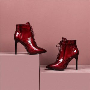 ANNYMOLI Winter Ankle Boots Women Natural Genuine Leather Thin Heels Short Boots Lace Up Super High Heel Shoes Lady Fall Size 39