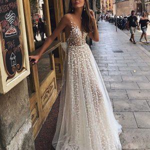 Women Sling Cross Wedding V-neck Elegant Party Evening Slim Hollow Lace Dress Bohemian Sexy Suspender Long Dress
