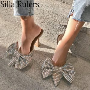 Runway bling rhinestone Big bow slippers woman sexy pointed toe cup heels sandals woman closed toe summer shoes woman 2019