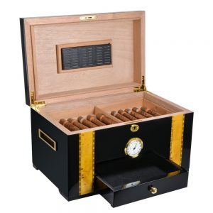 Cigar Cabinet with Humidifier and Hygrometer Luxury Humidor for Club Desktop Double Layer Cigar Box