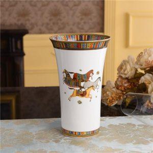 Porcelain Horse Vase Europe Home Decor Personalized Large Decorative Flower Vase Bone China Table Shelf Pot Planter Height 26CM