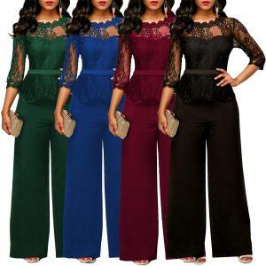 Women Jumpsuit Patchwork See Through Lace High Waist Half Sleeve Vintage O Neck Female Elegant Modest Plus Size Ladies Playsuits