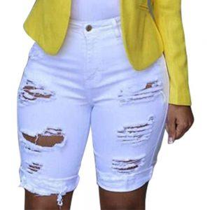 Джинсы Женские Jeans Shorts Women Elastic Destroyed Hole Leggings Short Pants Denim Ripped Jeans Штаны Женские