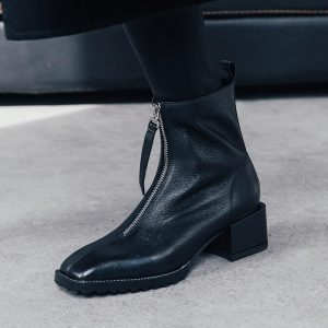 2020 Autumn Winter Fashion Women Ankle Boots Square Toe Low Heel Shoes Woman Back Zipper Short Booties Black White Botas Mujer