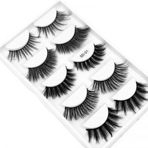 5 Pairs Laser Box Imitation Mink Hair 5D Stereo False Eyelashes Naturally Thick and Thick Type False Eyelashes Eyelash Extension