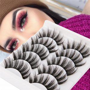 5 Pairs 3D Mink Hair False Eyelashes Natural/ Thick Long Eye Lashes Wispy Fluffy Eye Lash Extension Makeup Beauty Cosmetic Tools