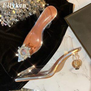 Eilyken size 34-42 Summer Tranaparent Women Pumps Fashion Round ball heeled Slingback Ladies Shoes Wedding Bride sandals shoes