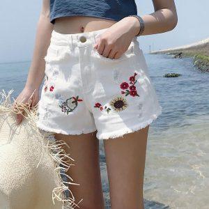 High Waisted Micro Shorts Women Plus Size 4XL 5XL Summer Jeans White Short Woman Kawaii Denim Hole Shorts Embroidery Hotpants