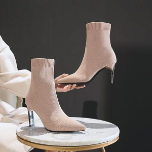 SEGGNICE Sock Boots Women Fashion 2019 High Heel Shoes Sexy Ankle Booties Black Slip Thin Heels Shoes Woman Ladies Party Boot
