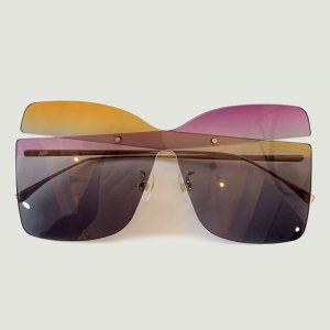 2020 New Style Oversize Rimless Sunglasses Women Fashion Designer Square One Piece Lens Sun Glasses UV400 With Box