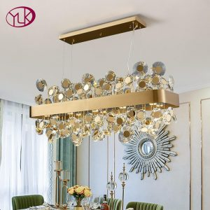 Luxury crystal chandelier for dining room Gold/black led cristal lamp lighting new design rectangle kitchen island light fixture