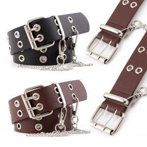 Punk Rock Chain Belts Women Black Brown Steampunk Cowgirl Adjustable Eyelet Grommet Leather Waist Belt Hole Hollow Female Ladies