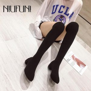 Solid Color Elastic Fabric Women's Boots Warm Socks Over The Knee Boots Slim Low Heel Gray Black Boot Spring Autumn Ladies Shoes